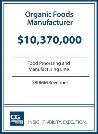$10.3MM for Organic Foods Manufacturer